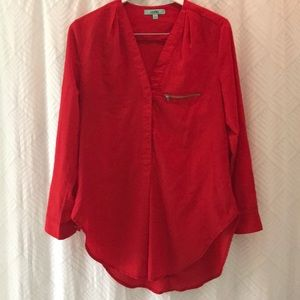 Tops - Red Blouse with front pocket zipper design. Large
